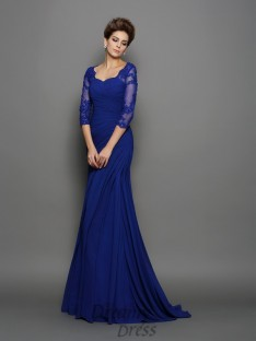 Sweetheart 3/4 Sleeves Sweep/Brush Train Chiffon Mother of the Bride Dress
