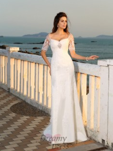Sweetheart Floor-Length Short Sleeves Satin Wedding Dress
