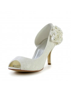 Trendy Heel Wedding Shoes Flower S483901A