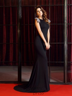 Trumpet/Mermaid Bateau Court Train Spandex Dress