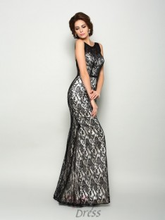 Trumpet/Mermaid Bateau Elastic Woven Satin Lace Floor-Length Dress