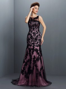 Trumpet/Mermaid Bateau Elastic Woven Satin Long Dress