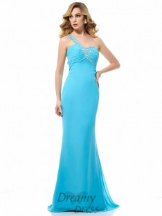 Trumpet/Mermaid Chiffon One-Shoulder Sweep/Brush Train Dress