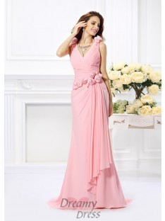Trumpet/Mermaid Chiffon V-neck Sweep/Brush Train Dress