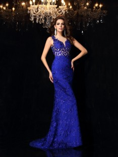Trumpet/Mermaid High Neck Lace Sweep/Brush Train Satin Dress