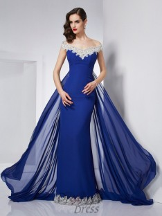 Trumpet/Mermaid Off-the-Shoulder Chiffon Floor-Length Dress