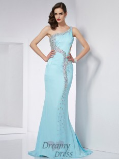 Trumpet/Mermaid One-Shoulder Sweep/Brush Train Chiffon Dress