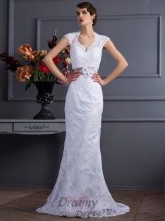 Trumpet/Mermaid Satin Sweep/Brush Train Wedding Dress