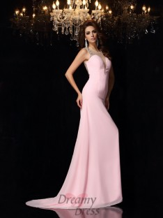 Trumpet/Mermaid Scoop Chiffon Court Train Dress