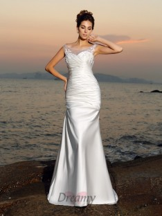 Trumpet/Mermaid Scoop Satin Sweep/Brush Train Wedding Dress