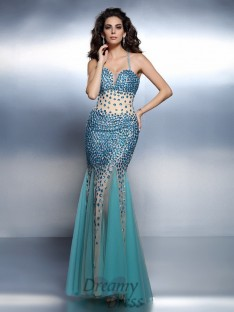 Trumpet/Mermaid Spaghetti Straps Satin Long Dress