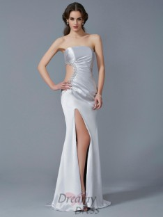 Trumpet/Mermaid Strapless Elastic Woven Satin Sweep/Brush Train Dress