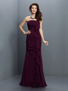 Trumpet/Mermaid Strapless Sweep/Brush Train Chiffon Bridesmaid Dress
