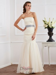 Trumpet/Mermaid Strapless Sash/Ribbon/Belt Floor-Length Organza Dress