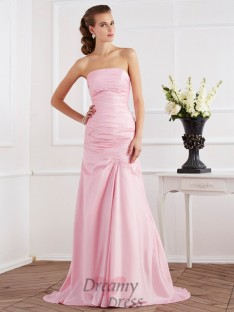 Trumpet/Mermaid Strapless Taffeta Sweep/Brush Train Dress
