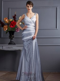 Trumpet/Mermaid Straps Pleats Floor-Length Satin Dress