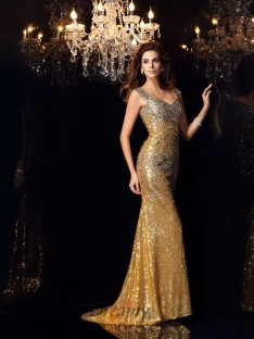 Trumpet/Mermaid Straps Sequins Floor-Length Dress