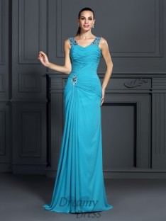 Trumpet/Mermaid Straps Sweep/Brush Train Chiffon Dress