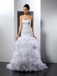 Trumpet/Mermaid Sweetheart Chapel Train Organza Wedding Dress