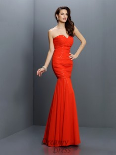Trumpet/Mermaid Sweetheart Floor-Length Chiffon Bridesmaid Dress