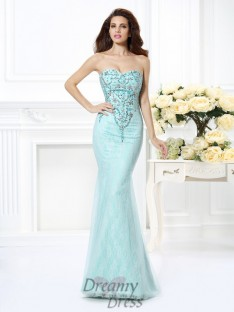 Trumpet/Mermaid Sweetheart Lace Floor-Length Net Dress