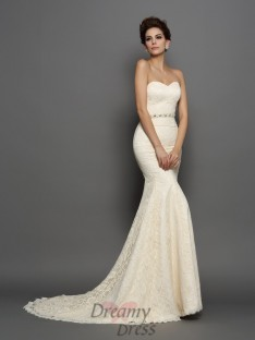 Trumpet/Mermaid Sweetheart Satin Chapel Train Wedding Dress