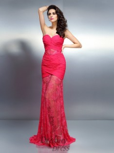 Trumpet/Mermaid Sweetheart Sweep/Brush Train Chiffon Dress