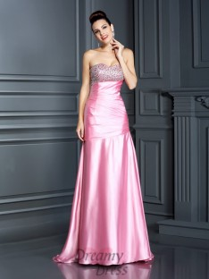 Trumpet/Mermaid Sweetheart Sweep/Brush Train Elastic Woven Satin Dress