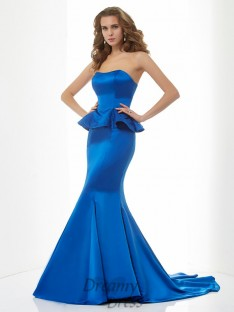 Trumpet/Mermaid Sweetheart Sweep/Brush Train Satin Dress