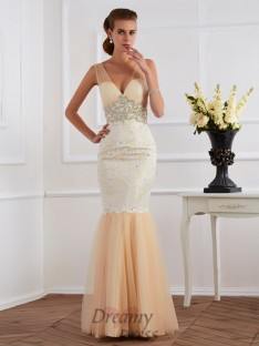 Trumpet/Mermaid V-neck Floor-length Net Lace Dress