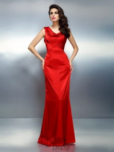 Trumpet/Mermaid V-neck Floor-Length Silk like Satin Dress