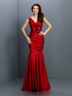 Trumpet/Mermaid V-neck Floor-Length Taffeta Bridesmaid Dress