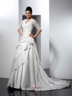 V-neck 1/2 Sleeves Chapel Train Satin Wedding Dress