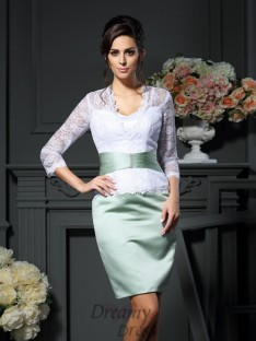 V-neck 1/2 Sleeves Short/Mini Satin Mother of the Bride Dress