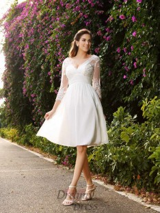 V-neck Chiffon 3/4 Sleeves Knee-length Lace Wedding Dress