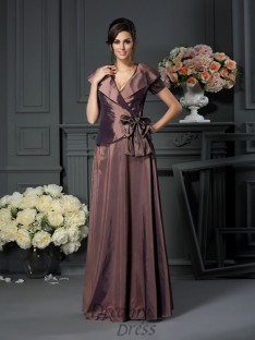 V-neck Floor-Length Short Sleeves Taffeta Mother of the Bride Dress