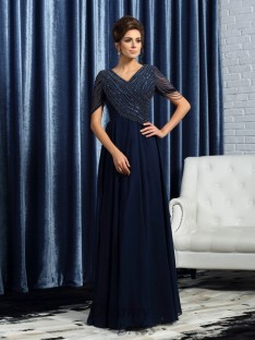 V-neck Short Sleeves Floor-Length Chiffon Mother of the Bride Dress